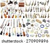 Different music instruments under the white background - stock photo