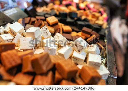 different nougat with nuts - stock photo
