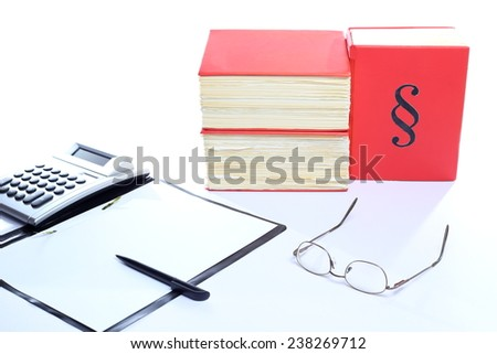 different office equipment on a desk with white background - stock photo