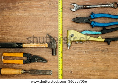 different old tools on wood  - stock photo