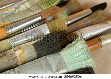 Different paintbrushes close up - stock photo