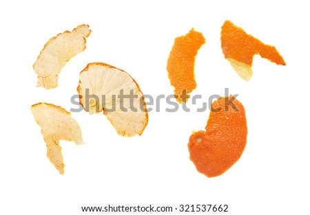 Different parts of tangerine peel isolated on white background, top view - stock photo