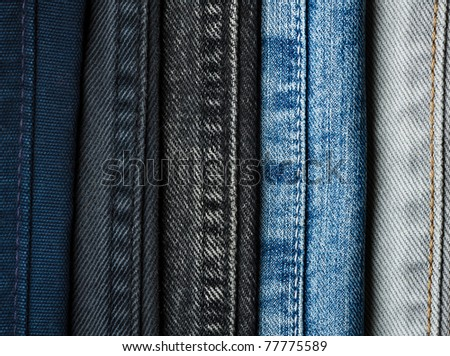 Different patterns of jeans,closeup - stock photo