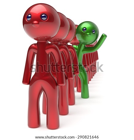 Different people character green individuality stand out from the red crowd unique man think differ person otherwise welcome to new opportunities concept human resources hr icon. 3d render isolated - stock photo