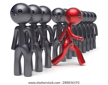 Different people character individuality stand out from the crowd unique red man think differ person otherwise run to new opportunities concept human resources hr icon. 3d render isolated - stock photo