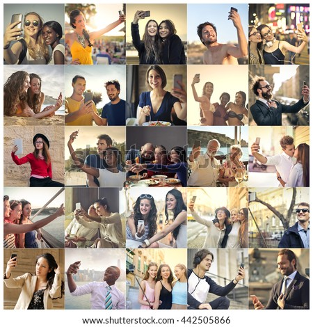 Different people doing a selfie - stock photo