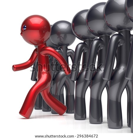 Different people stand out from the crowd individuality character red unique man think differ person otherwise run to new opportunities concept human confidence trust vote icon. 3d render isolated - stock photo