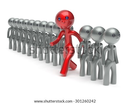 Different people stand out from the white crowd red man character individuality unique think differ person otherwise run to new opportunities concept referendum vote icon. 3d render isolated - stock photo