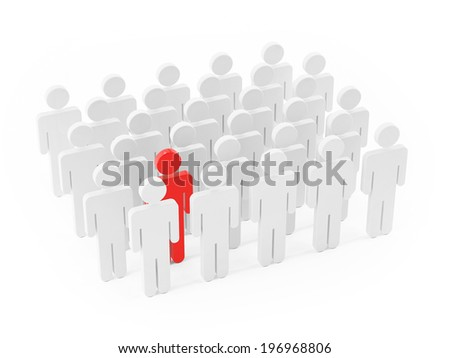 Different people, standing out of the crowd on white background