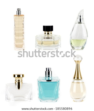 different perfumes on a white background