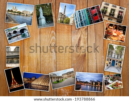 different photos of Paris, Travel Collage on a wooden background, retro postcard - stock photo