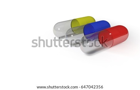 Different pill on the white, 3d render working