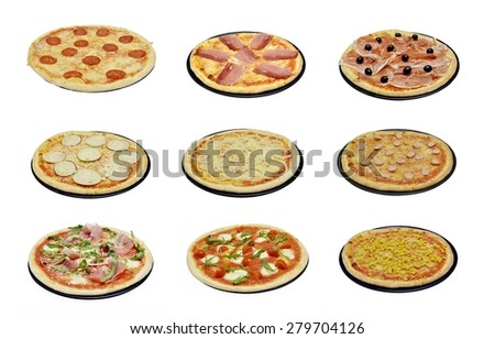 Different pizzas and topped with the traditional recipes of the Italian cuisine. Pizza baked in the oven with wood: composition of 9 different pizzas isolated with white background. Point of view
