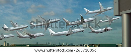 Different planes take off from the airport - stock photo