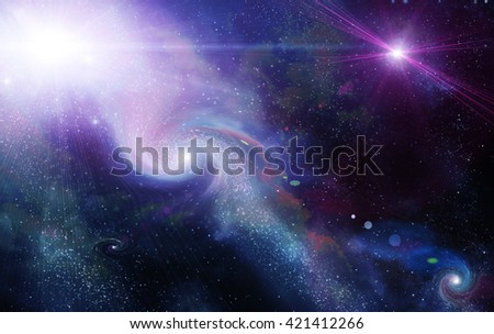 different planets in outer space, abstract - stock photo
