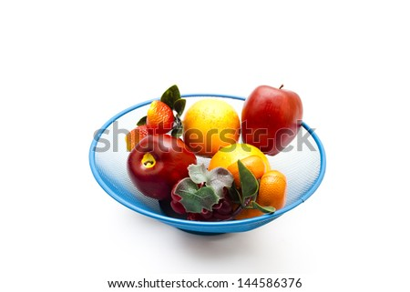 Different Plastic Fruits in Basket