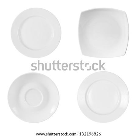 different plates isolated on white background with clipping path included - stock photo