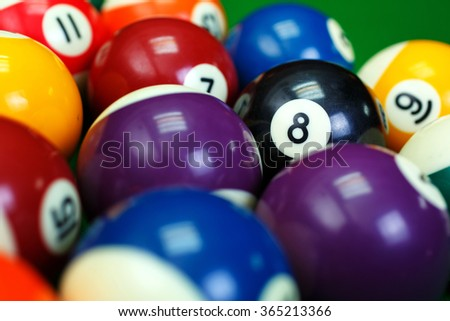 Different points of view billiard balls on a blue pool table. eight in focus