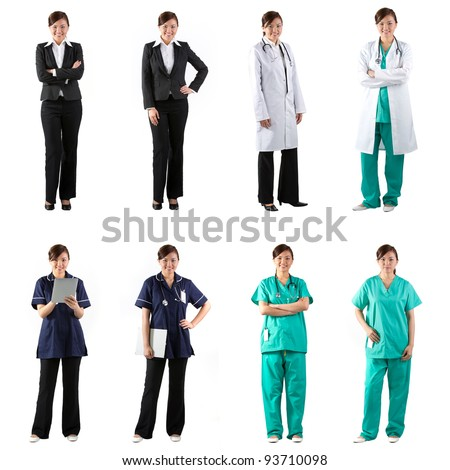 Different poses of the same female model wearing business and medical clothing. Isolated over white background.