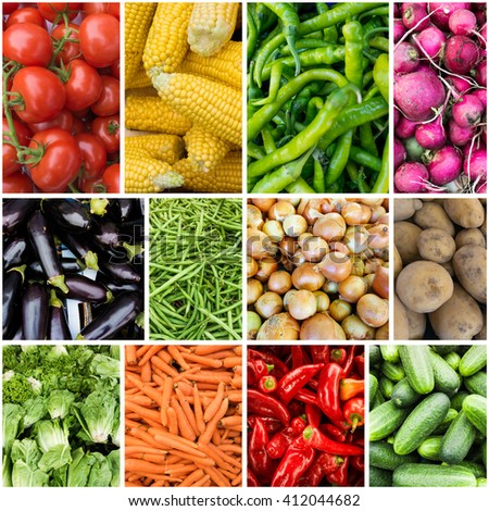 Different raw vegetables background.Healthy eating. vegetables collage - stock photo