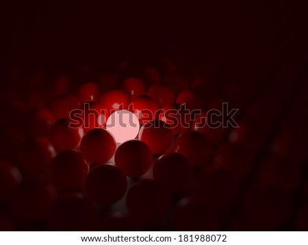 Different red ball, unique concept - stock photo