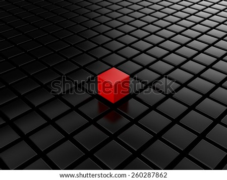 Different red cube - stock photo