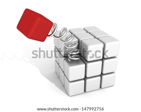 Different red cube jump out on spring spiral - stock photo