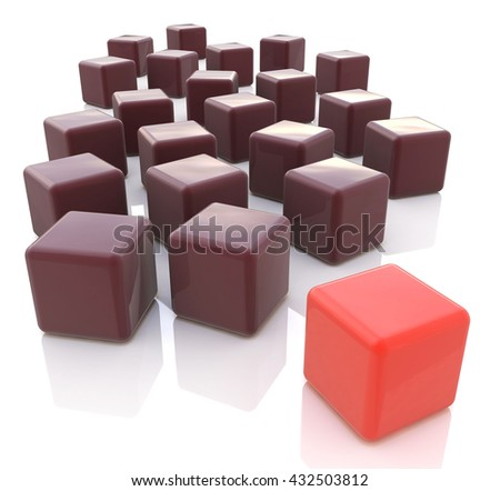 Different red cube on white background in the design of the information associated with the abstraction of leadership. 3d illustration - stock photo