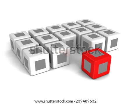 Different red cube out from crowd on white background. Individuality concept 3d render illustration - stock photo