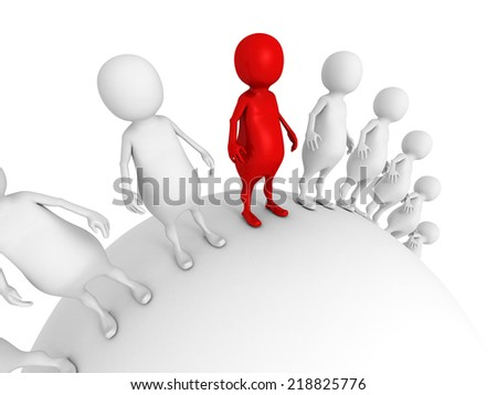 different red 3d leader man of whitr crowd. individuality leadership concept 3d render illustration - stock photo