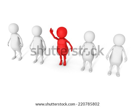 different red 3d man out from other crowd. individuality concept 3d render illustration - stock photo