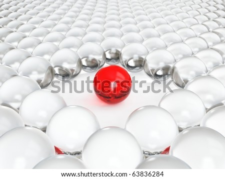Different red glass ball - stock photo