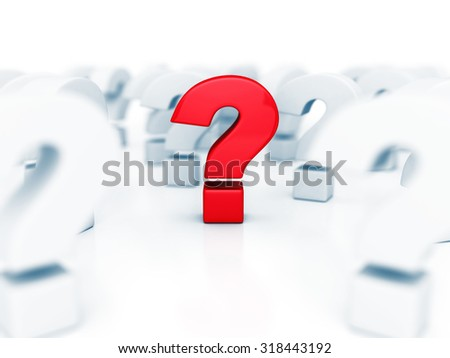 Different Red Question Mark In Other Problem Symbols. 3d Render Illustration - stock photo