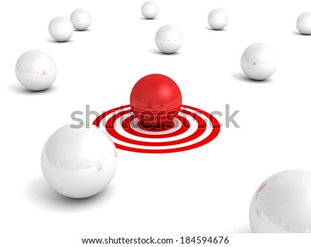 Different red sphere inother crowd on target. business concept 3d render illustration - stock photo