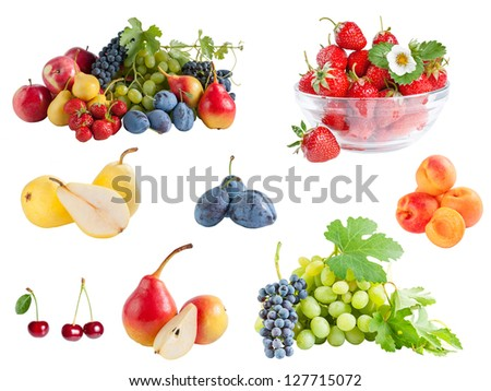 Different ripe fruits set isolated on a white background - stock photo