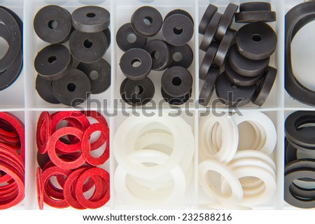 Different Rubber o-rings for water supply sorted in a box