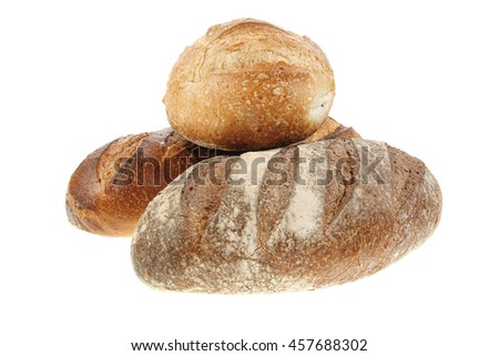 different rye and white flour fresh baked french bread loaf isolated on white background - stock photo