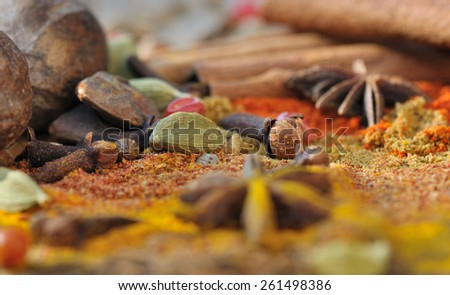 different seeds mixed in powder of colorful spices  - stock photo