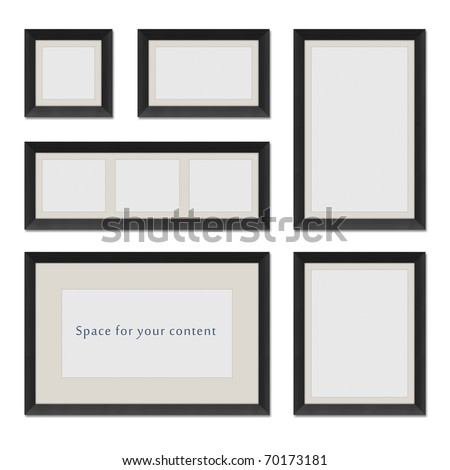 Different shaped black frames for your content - stock photo