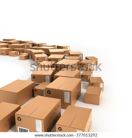 different size boxes are laid out in a row along the path - stock photo