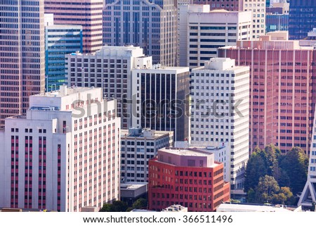 Different skyscrapers in San Francisco downtown - stock photo