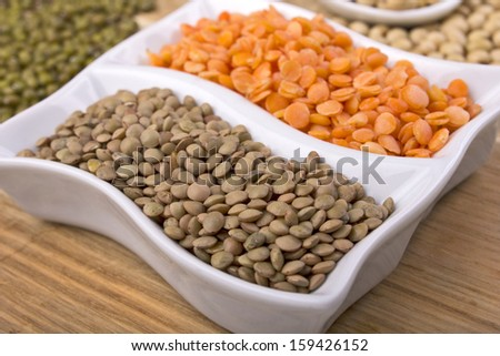 different sort lentil on cutting board
