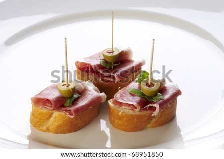 Different sort of canape for a self service buffet - stock photo