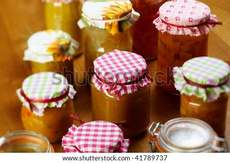 Different sort of pumpkin jam - stock photo