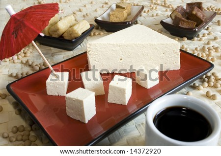 Different soy products: tofu cheese, smoked tofu, fried tofu, soy sauce, soy beans. Focus on the tofu at the front. - stock photo