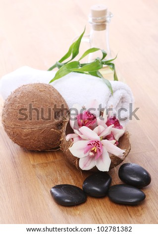 Different spa items over wooden surface - stock photo