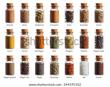 different spices in a little bottles isolated on white background - stock photo