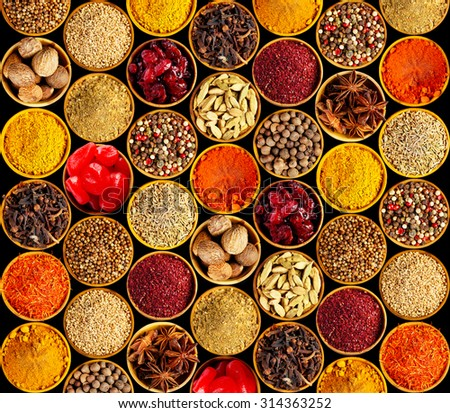 Different spices on black background - stock photo