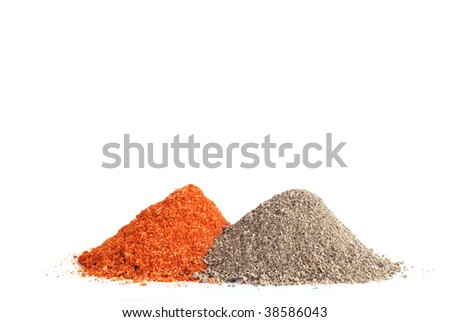 different spices on white background, two species