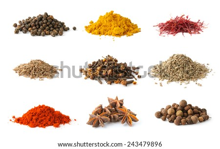 Different spices set on white background - stock photo
